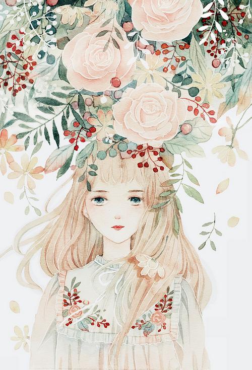 女生唯美手绘皮肤图片_箴言_【 谁又轻吟虞美人】枔琗